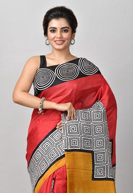 Maroon Color Printed Soft Pure Silk Saree (She Saree 906)