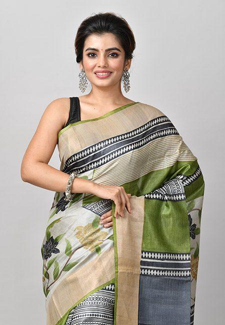 Olive Green And Ash Color Printed Soft Pure Tussar Silk Saree (She Saree 909)