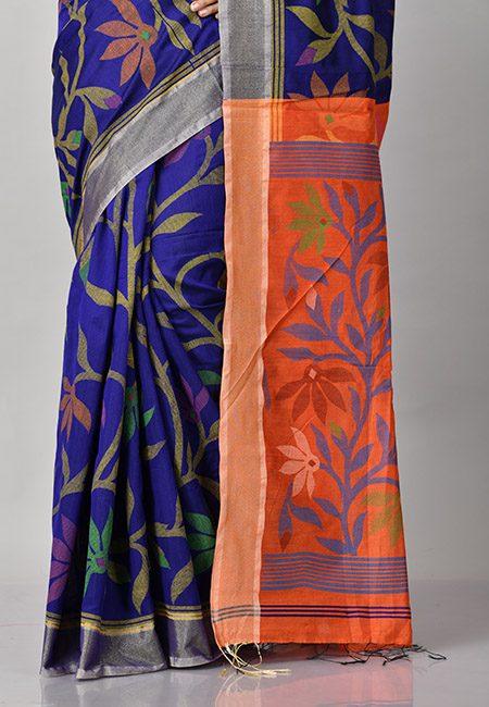Robin Blue Color Handloom Cotton Saree (She Saree 911)