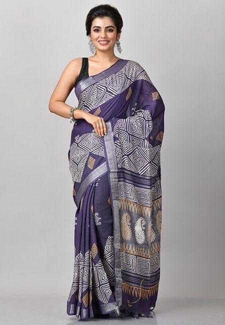 Deep Turquoise Blue Color Printed Linen Cotton Saree (She Saree 914)