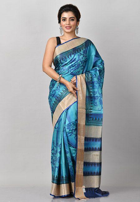 Peacock Blue Color Printed Pure Soft Tussar Silk Saree (She Saree 915)
