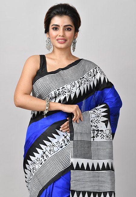Royal Blue Color Printed Soft Pure Silk Saree (She Saree 918)