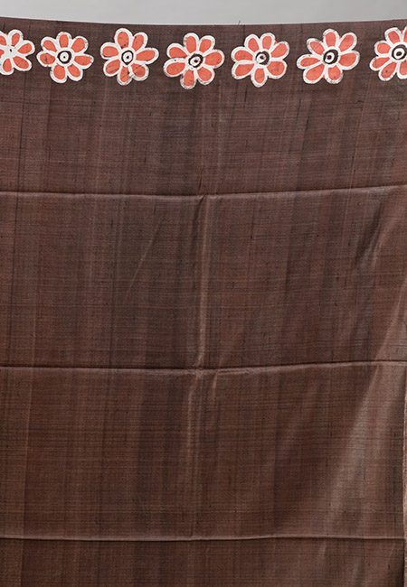 Chocolate Brown And Rust Color Printed Pure Soft Tussar Silk Saree (She Saree 922)
