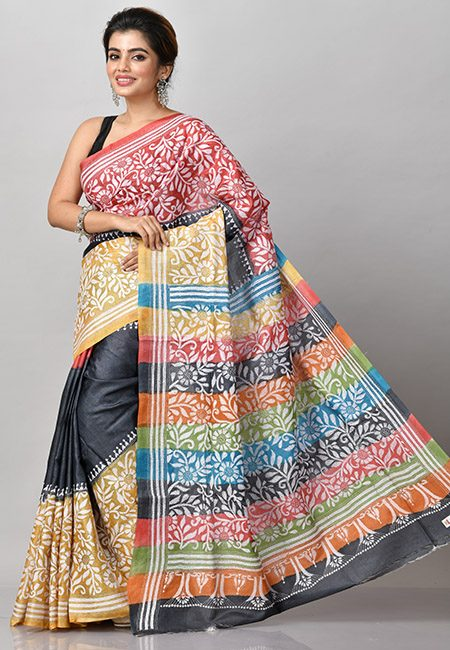 Multi Color Pure Hand Woven Kantha Stitch Silk Saree (She Saree 923)