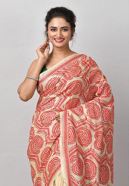 Light Beige Color Kantha Stitch Pure Tussar Silk Saree (She Saree 925)