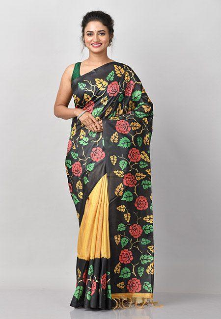 Black And Mustard Color Printed Tussar Silk Saree (She Saree 927)