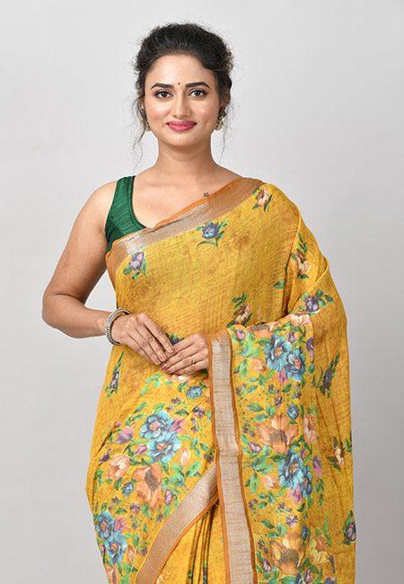 Mustard Color Printed Linen Cotton Saree (She Saree 929)