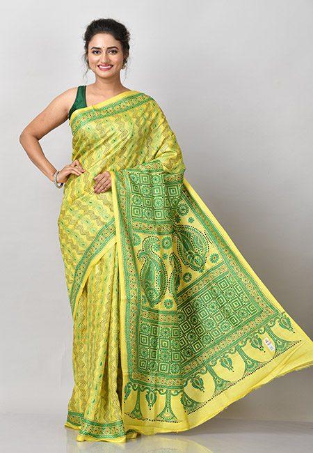 Lemon Yellow Color Kantha Stitch Pure Silk Saree (She Saree 931)