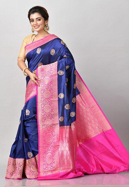 Navy Blue Color Contrast Pure Katan Silk Saree (She Saree 935)