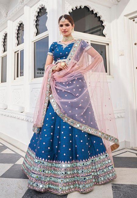 Turquoise Blue Color Heavy Silk Embroidery Bridal Lehenga (She Lehenga 513)