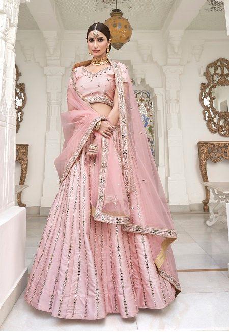 Stony Pink Color Heavy Silk Embroidery Bridal Lehenga (She Lehenga 510)