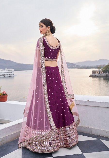 Wine Color Heavy Silk Embroidery Bridal Lehenga (She Lehenga 511)