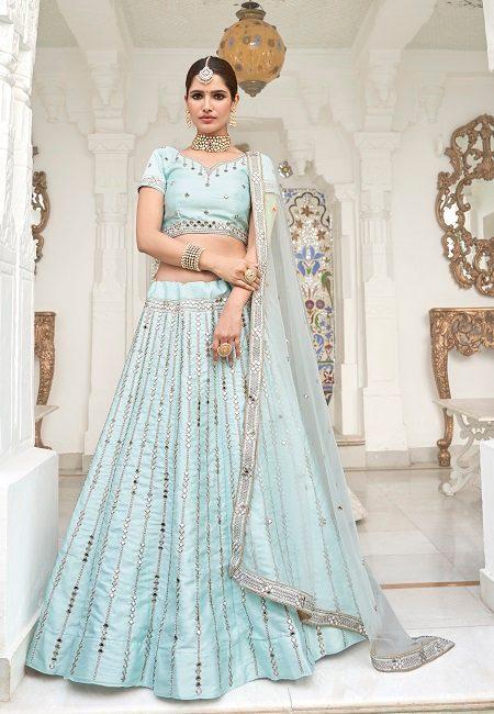 Ice Blue Color Heavy Silk Embroidery Bridal Lehenga (She Lehenga 508)