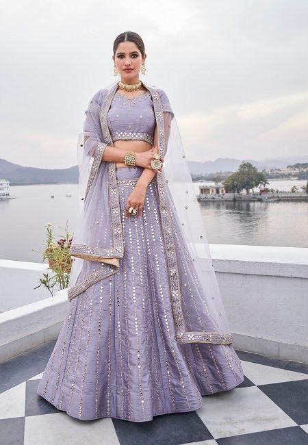 Lavender Color Heavy Silk Embroidery Bridal Lehenga (She Lehenga 509)