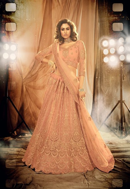 Peach Color Designer Net Bridal Lehenga (She Lehenga 514)