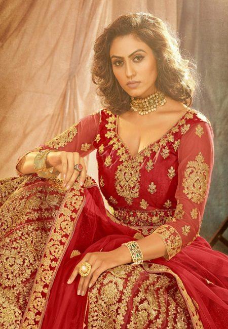 Pure Red Color Designer Net Bridal Lehenga (She Lehenga 515)