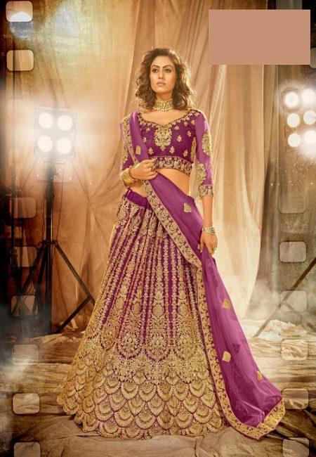 Magenta Color Designer Net Bridal Lehenga (She Lehenga 516)