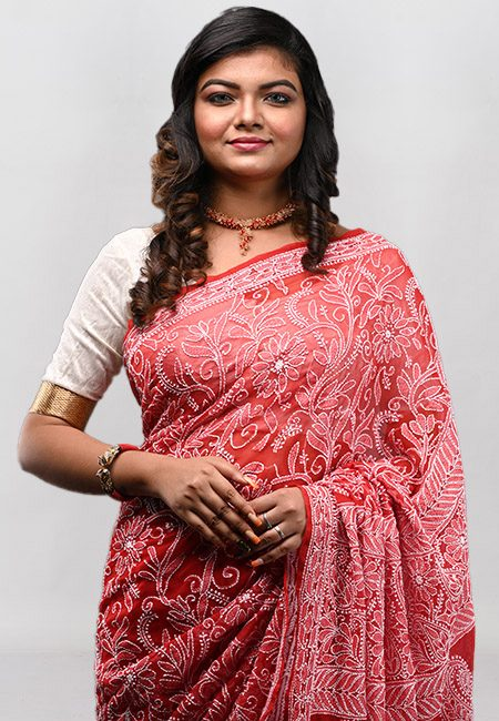 Red Color Embroidered Lucknow Chikon Saree (She Saree 936)