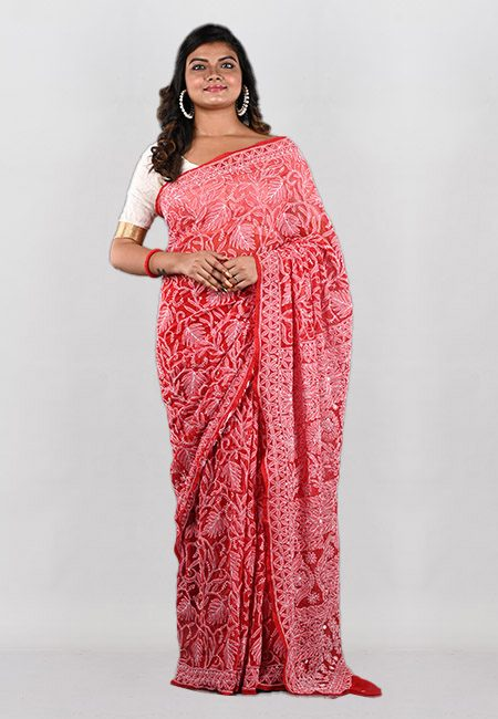 Red Color Embroidered Lucknow Chikon Saree (She Saree 938)