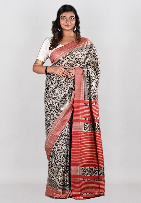 Beige Color Printed Soft Gicha Tussar Silk Saree (She Saree 941)