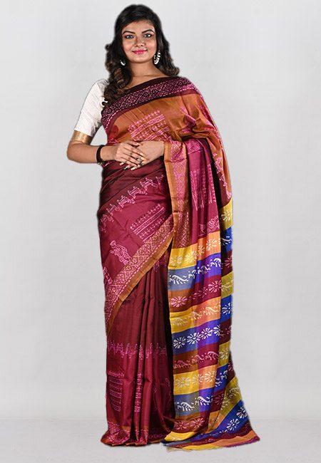 Multi Color Printed Pure Bishnupuri Silk Saree (She Saree 943)