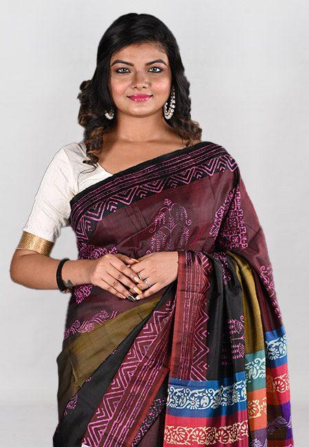 Multi Color Printed Pure Bishnupuri Silk Saree (She Saree 944)