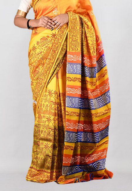 Yellow Color Printed Pure Bishnupuri Silk Saree (She Saree 945)