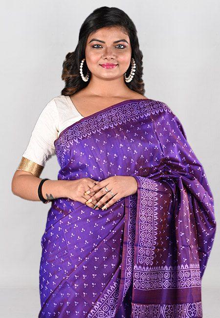 Purple Color Printed Pure Bishnupuri Silk Saree (She Saree 946)