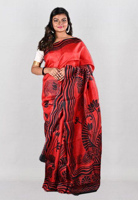 Red Color Printed Pure Silk Saree (She Saree 949)
