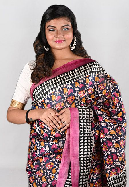 Black Color Printed Pure Silk Saree (She Saree 951)