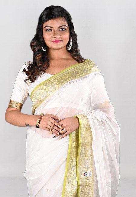 Off White Color Soft Chiffon Banarasi Saree (She Saree 955)