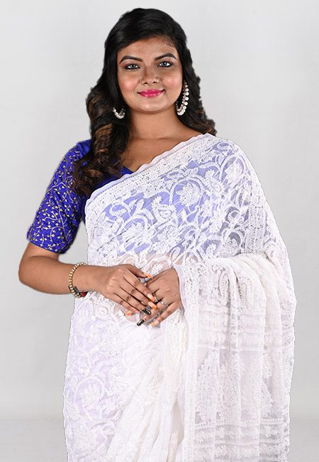 White Color Embroidered Lucknow Chikon Saree (She Saree 957)