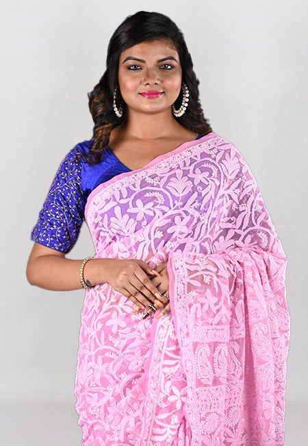 Pink Color Embroidered Lucknow Chikon Saree (She Saree 958)