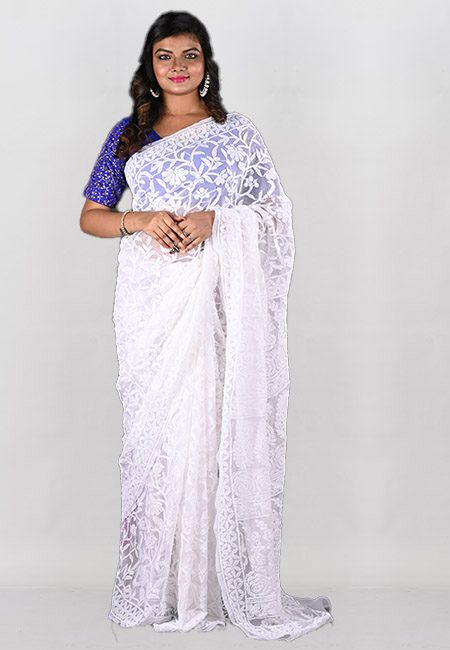 White Color Embroidered Lucknow Chikon Saree (She Saree 959)