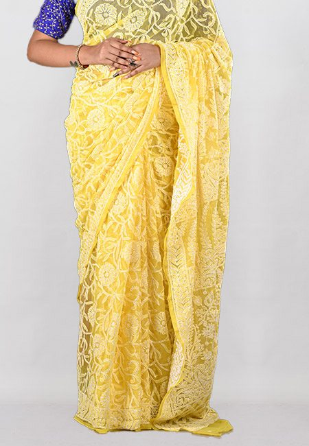 Yellow Color Embroidered Lucknow Chikon Saree (She Saree 960)