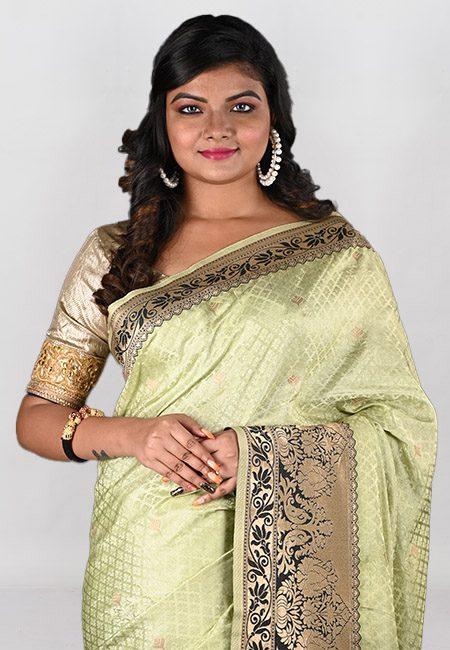 Light Olive Green Color Semi Katan Silk Saree (She Saree 963)