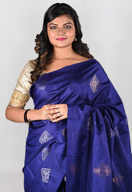 Navy Blue Color Pure Maheswari Silk Saree (She Saree 970)