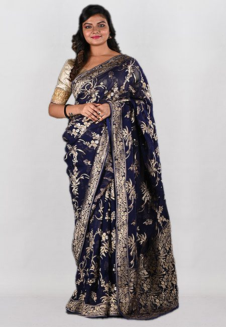Navy Blue Color Designer Khaddi Georgette Saree (She Saree 974)