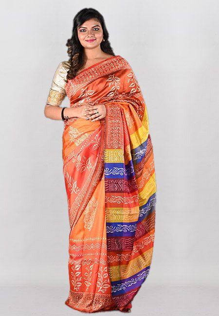 Multi Color Printed Pure Bishnupuri Silk Saree (She Saree 983)