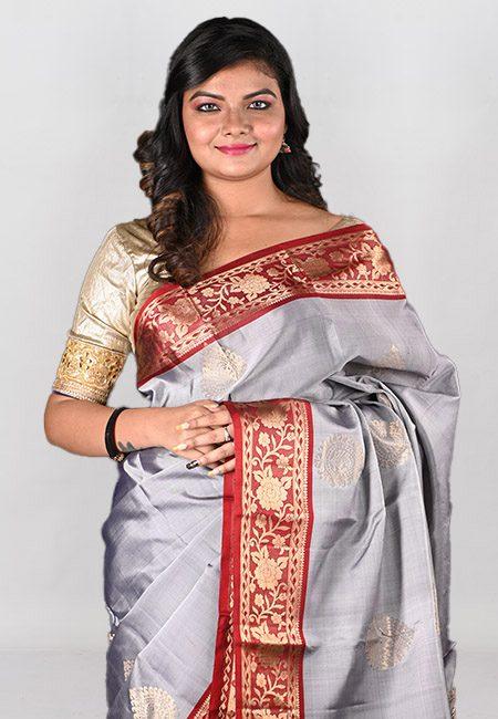Grey Color Kanjivaram Silk Saree (She Saree 985)