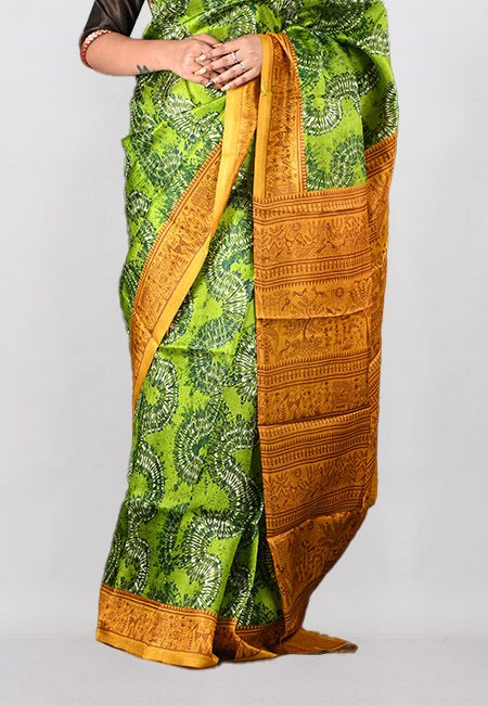 Green Color Printed Pure Silk Saree (She Saree 1000)
