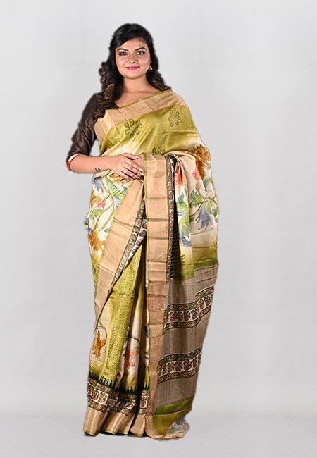 Light Beige And Pista Color Printed Pure Tussar Silk Saree (She Saree 1001)