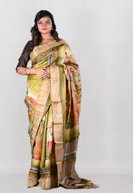 Pista Green Color Printed Pure Soft Tussar Silk Saree (She Saree 1002)