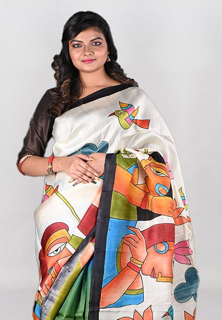 Off White And Green Color Printed Pure Silk Saree (She Saree 1003)