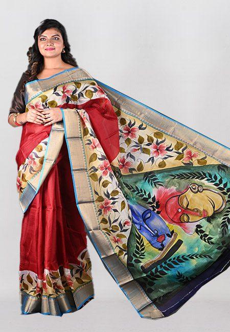 Maroon Color Printed Pure Silk Saree (She Saree 1008)