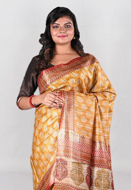 Mustard Color Printed Soft Pure Tussar Silk Saree (She Saree 1015)