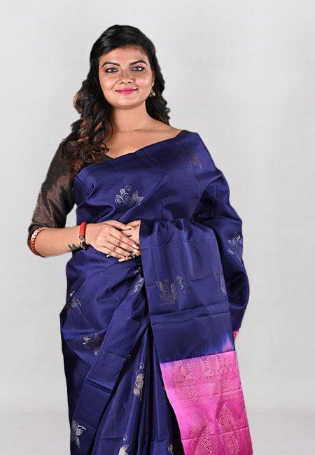Navy Blue Color Pure Soft Silk Saree (She Saree 1016)