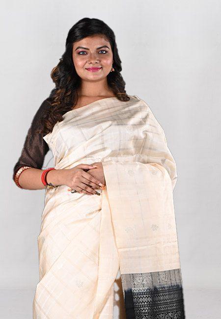 Off White Green Color Pure Maheswari Silk Saree (She Saree 1018)
