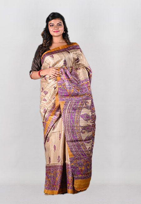 Beige Color Printed Soft Pure Tussar Silk Saree (She Saree 1021)