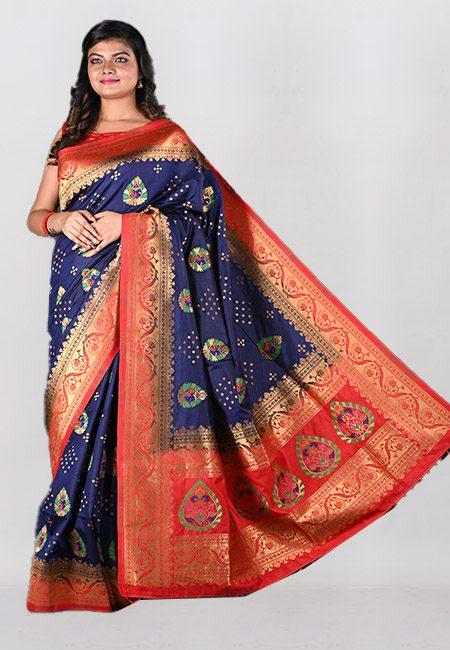 Navy Blue Color Semi Katan Silk Saree (She Saree 1025)
